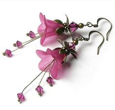 Exotic Fuchsia Floral Fantasy Crystal earrings