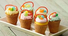 Easter Basket Cupcakes: Instead of paper liners, these cupcakes are baked in ice cream cones to make edible Easter baskets.