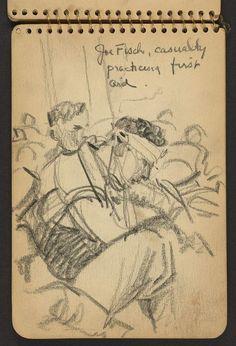 Ses dessins lui ont peut-être sauvé la vieLe soldat portant un bandage à la tête s'appelle Joe Fisch. Blessé lui-même en novembre 1944, Victor Lundy sera évacué sur un hôpital militaire. C'est là qu'un médecin militaire, remarquera ses esquisses et le recrutera pour dresser les plans d'un nouveau procédé médical qu'il était en train de mettre au point. Une aubaine pour Victor Lundy qui passa du coup, huit mois éloigné du front.