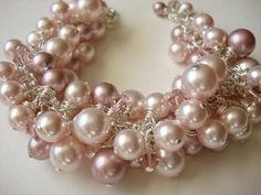 Swarovski Pink Pearl and Crystal Cluster Bracelet by NickyeCole, $48.00
