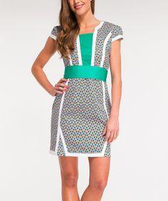 This Almatrichi Turquoise & White Geometric Sheath Dress by Almatrichi is perfect! #zulilyfinds