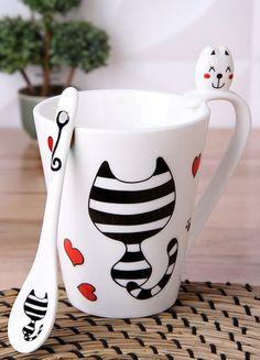5 Çayı Porselen Kaşıklı Kedi Desenli Lüx Kupa Online Satın Al | 5 Çayı | Markafoni