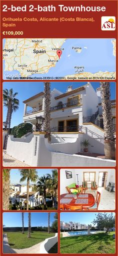Townhouse for Sale in Orihuela Costa, Alicante (Costa Blanca), Spain with 2 bedrooms, 2 bathrooms - A Spanish Life Murcia, Downstairs Cloakroom, Bathroom, Valencia, Portugal, Alicante Spain, Large Bedroom, Open Plan Kitchen, Back Gardens