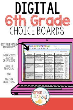 This editable DIGITAL choice board for Google Drive™ is an amazing differentiation tool that not only empowers students through choice but also meets their individual needs.You will find that the ratio and proportions enrichment board contains three leveled activities for each standard: appetizer, entree, and dessert from my printable resource: 6th Grade Ratios & Proportions Relationships Choice Board –Enrichment Math Menu.