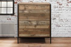 Urban Four Drawer Chest - Industrial Chic Finish Industrial Drawers, Industrial Chic, Urban Bedroom, Sleep On The Floor, Bed Legs, New Beds, Steel Furniture, Double Beds, Chest Of Drawers