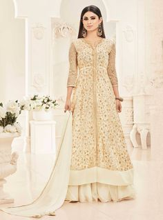Mouni Roy Beige Net Lehenga With Long Choli 89070 New Indian Dresses, Eid Dresses, Dresses Online, Fashion Dresses, Girls Dresses, Long Choli Lehenga, Net Lehenga, Anarkali Dress, Lehenga Suit