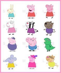 "10% OFF SALE Instant Download - Peppa Pig 3"" Digital Birthday Balloon Stickers Bs006"