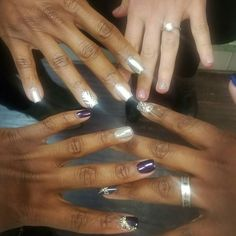 When the whole crew comes through... #LovingTheCrew  #LacquerRoom #nails #nailart #nailswag #naildesigns #nailstagram #freehand #coffinnails #metallics #chrome #gelmanicure #bling #bronxnailsalons #LacquerRoomSwag