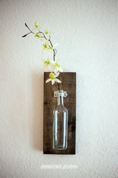 Wine Bottle Wall Vase / Sold Individually  Rustic Modern