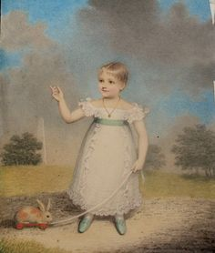 Enchanting portrait of a child with a toy rabbit 1825