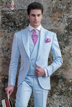 Abito vintage estivo moda sposo fashion puro lino celeste. Completo ONGala  2204. Collezione Fashion 5bb63a9ba4a