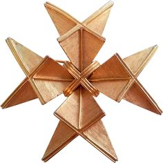 This unique brooch reminds me of origami! Goldtone cast metal construction, nicely textured, in a Maltese Cross design. Measuring 2.5 across, this pin
