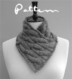 KNITTING PATTERN Neckwarmer Scarf with wooden toggles PDF Digital Delivery. $5.00, via Etsy.