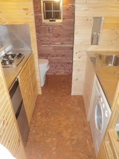 evan and gabbys tiny house interior notice the tiny fridge full size washer and