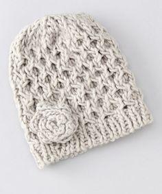 Loom Knit Flower Hat