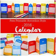Free Cityscape Accordion Fold 2016 Printable Calendar - This delightful little desk calendar features 12 colorful Cityscape designs in an accordion style format.