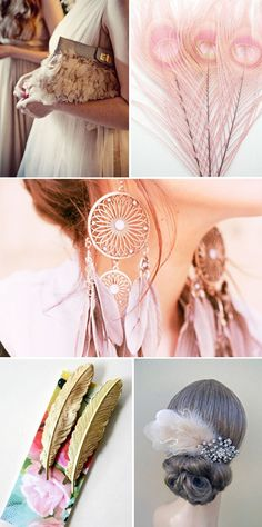 soft pink feathers in jewelry, accessories, hair, clothing. so very lovely & feminine :)