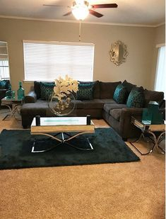 Browse stylish brown living room decor inspiration, furniture and accessories on Jbirdny. Teal Living Rooms, Elegant Living Room, New Living Room, My New Room, Home And Living, Living Room Designs, Living Room Furniture, Living Room Decor, Bedroom Decor