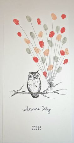 Owl Fingerprint Guest Book. maybe use the Owen graphics from the thank you cards?