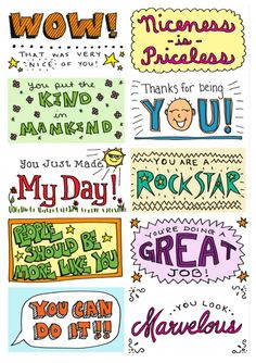 "Printable ""kind cards"" for deserving citizens (or students) - thank you to Melissa Morris Ivone for personally drawing these and sharing them with us!"
