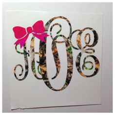 Monogram with Bow Decal for Car, Laptop, Tablet - 3 in x 2.5 in Custom Sticker - Sorority Gift Mom Friend Sister Hostess Teacher