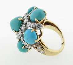 Glorious Van Cleef & Arpels Turquoise Diamond Gold Cocktail Ring | From a unique collection of vintage cocktail rings at https://www.1stdibs.com/jewelry/rings/cocktail-rings/