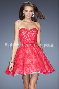 2014 Sweetheart A Line Homecoming Dress Short/Mini Lace Beaded With Ribbon