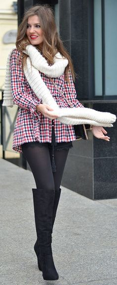 Multi Gingham Peplum Blouse by Mi Aventura Con La Moda. Like the look, not a fan of her pantyhose showing at the very top. Takes away from the hint of classiness the look has!!