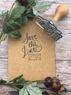 WEDDING STAMP save the date CALLIGRAPHY Rubber Stamp custom