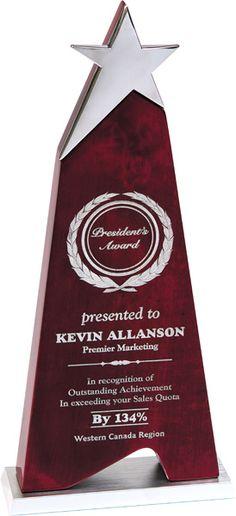 Rosewood Star Award Giftware Award Trophy