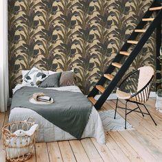 Golden Brown Botanical Wallpaper - Brown Gold Black 37862-4