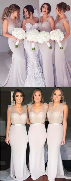 elegant mermaid long lilac bridesmaid dresses,simple v neck grey wedding party dress for guest #bridesmaids