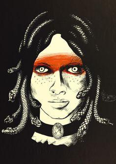 Chris Thornley's Medusa Medusa Hair, Medusa Gorgon, Ancient Goddesses, Gods And Goddesses, Graphic Design Books, Turn To Stone, Medieval World, Portraits, Visual Diary