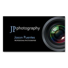 Professional Photographer Camera Lens Business Card. This is a fully customizable business card and available on several paper types for your needs. You can upload your own image or use the image as is. Just click this template to get started!