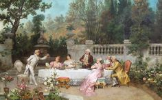 'The Garden Party' (date not specified) by Francesco Beda (1840-1900). Oil on canvas. 90.2 x 143.3 cm (35.50 x 56.50 in). Signed 'F. Beda'. Current location: Art retailer Mark Murray Fine Paintings, New York City, New York (U.S.), listed at USD 65,000 (GBP 42,152/EUR 51,158).  // Found by @RandomMagicTour (https://twitter.com/randommagictour) - Sasha Soren