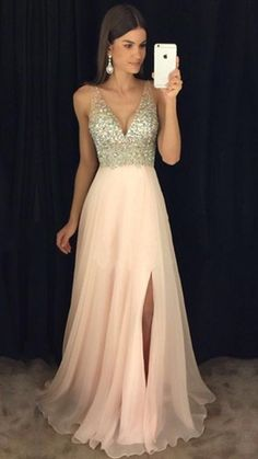 Sparkly Beaded Long V-Neck Prom Dress Fashion Long Side Slit School Dance Dresse.Sparkly Beaded Long V-Neck Prom Dress Fashion Long Side Slit School Dance Dresses Custom Made Long Chiffon Beadings Evenin# Beaded Pagent Dresses, V Neck Prom Dresses, Cute Prom Dresses, Beaded Prom Dress, Elegant Dresses, Nice Dresses, Formal Dresses, Party Dresses, Chiffon Dresses