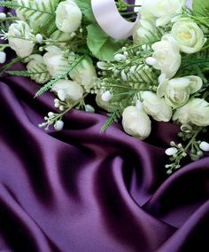 Purple Satin with White Flowers Background