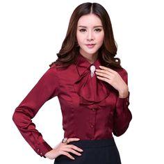 Brooch free high quality women's long sleeve silk blouses ruffles shirt turn-down collar fashion office tops formal blusas