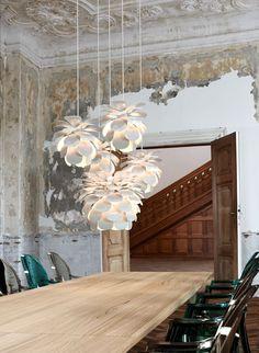 Danish Designer flower pendant...great for stairwells and atriums.