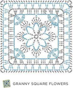 Granny Square Flowers- 50 Botanical Crochet Motifs and 15 Original Projects Crochet Symbols, Crochet Mandala Pattern, Crochet Square Patterns, Crochet Motifs, Crochet Diagram, Crochet Chart, Crochet Blanket Patterns, Crochet Stitches, Knit Crochet