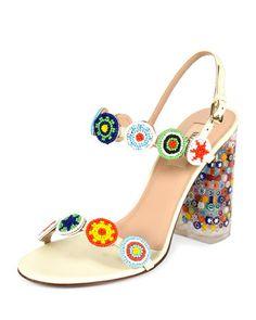 2f12440521 Valentino Garavani Beaded Leather Sandal with Floral-Lucite Heel