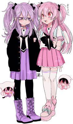 images for anime art Manga Kawaii, Kawaii Anime Girl, Kawaii Art, Anime Art Girl, Aesthetic Art, Aesthetic Anime, Anime Sisters, Pastel Goth Art, Dibujos Anime Chibi
