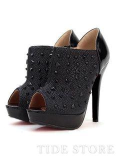 New  Ankle  Women New Stylish Rivets Stiletto Heel Celebrity Women Party  Peep Toe 14b1a0139d3c