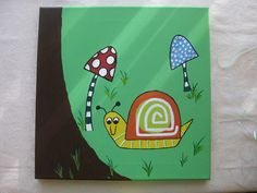 Snail and Mushroom Painting 12 x 12 Canvas Art by grisgrisart, $40.00
