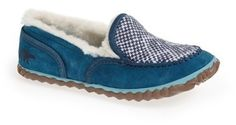 SOREL 'Tremblant Blanket' Slipper (Women) at Nordstrom.  Slip into instant comfort with a cozy slipper styled with classic moc stitching and lined in plush faux shearling. A textured rubber sole allows you to travel from dorm to class with ease. Removable insole. Leather and textile upper/synthetic faux-shearling lining/rubber sole. By SOREL; imported. BP. Shoes.
