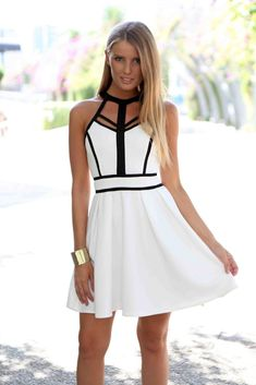 White Skater Dress with Cage High Neck Detailing at www.ustrendy.com