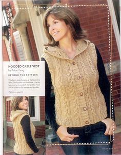 Craft Passions: Hooded Cable Vest#Free#crochet pattern link here
