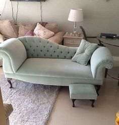 blue velvet chaise | DUCK-EGG-BLUE-CHAISE-LOUNGE-WITH-BUTTON-BACK-VELVET-TRADITIONAL-BOAT ...