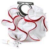 Stylish White, Vibrant Red Large Ruffle Double Handle Satchel Hobo Handbag w/Shoulder Strap