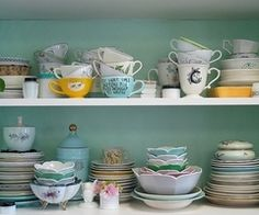 aqua, blue, cabinet, china, collection, cups - inspiring picture on Favim.com